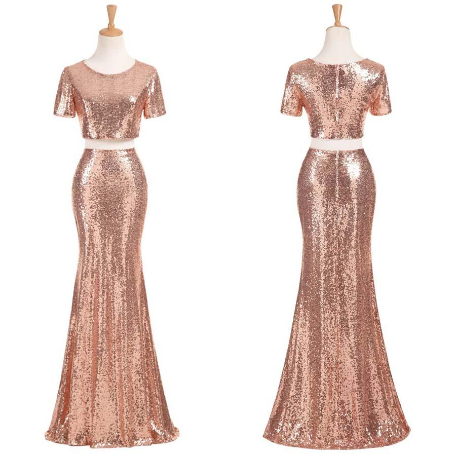 Affordable Wedding Gowns Online: Sexy Two Pieces Short Sleeve Cheap Gold Sequin Long
