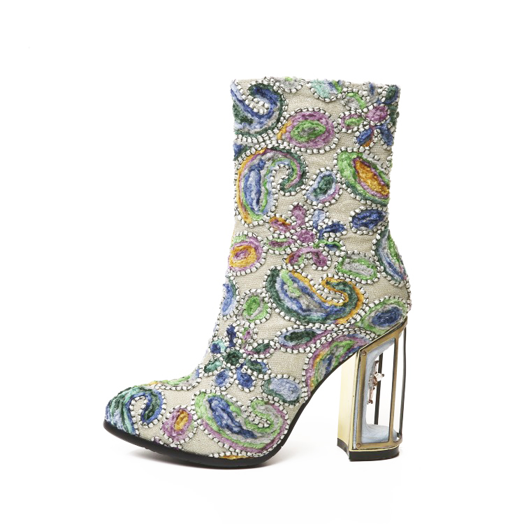 Green Multi Ankle High Heel Boots