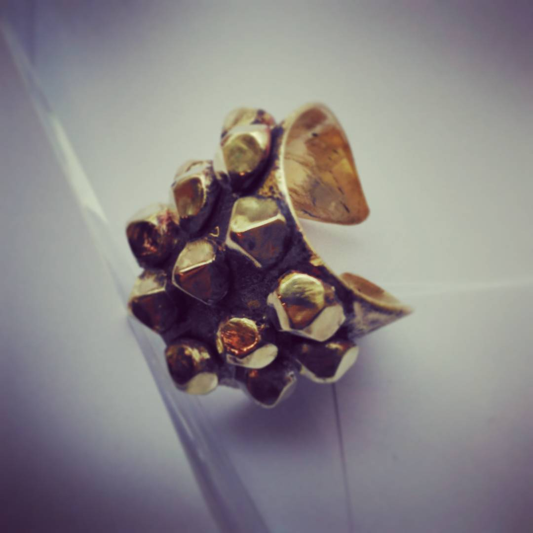 Golden Spikes. Bold Handmade Brass RingShiny SpikesHand Carved RingChristmas Gift