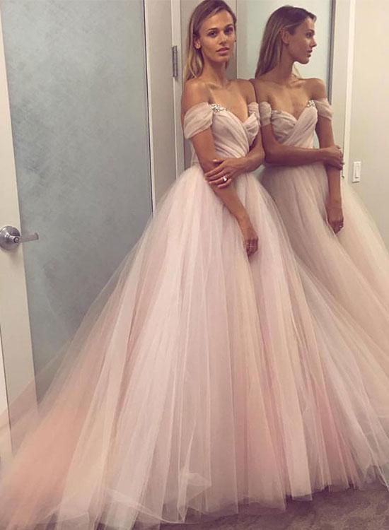 Charming A Line Off Shoulder Organza Long Prom Dress Evening Dress