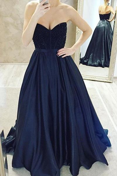 Dark Navy Ball Gown Prom Dresses-long Prom Dresses-cheap Prom Dresses-evening Dress Prom GownsFormal Women Dress