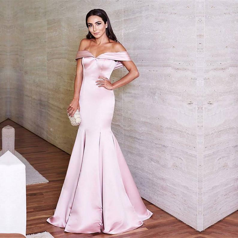 e186982a741e ... New Arrival Pink Mermaid Prom Dress Off The Shoulder,Satin Formal  Evening Gown - Thumbnail