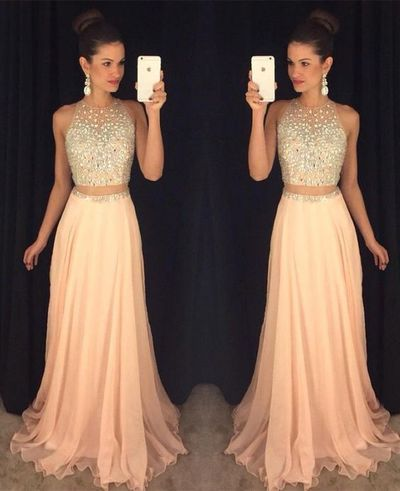Sexy Peach Prom DressBeading Prom Dress-two Pieces Prom DressLong Evening GownProm Dresses For TeensSexy Evening Gowns