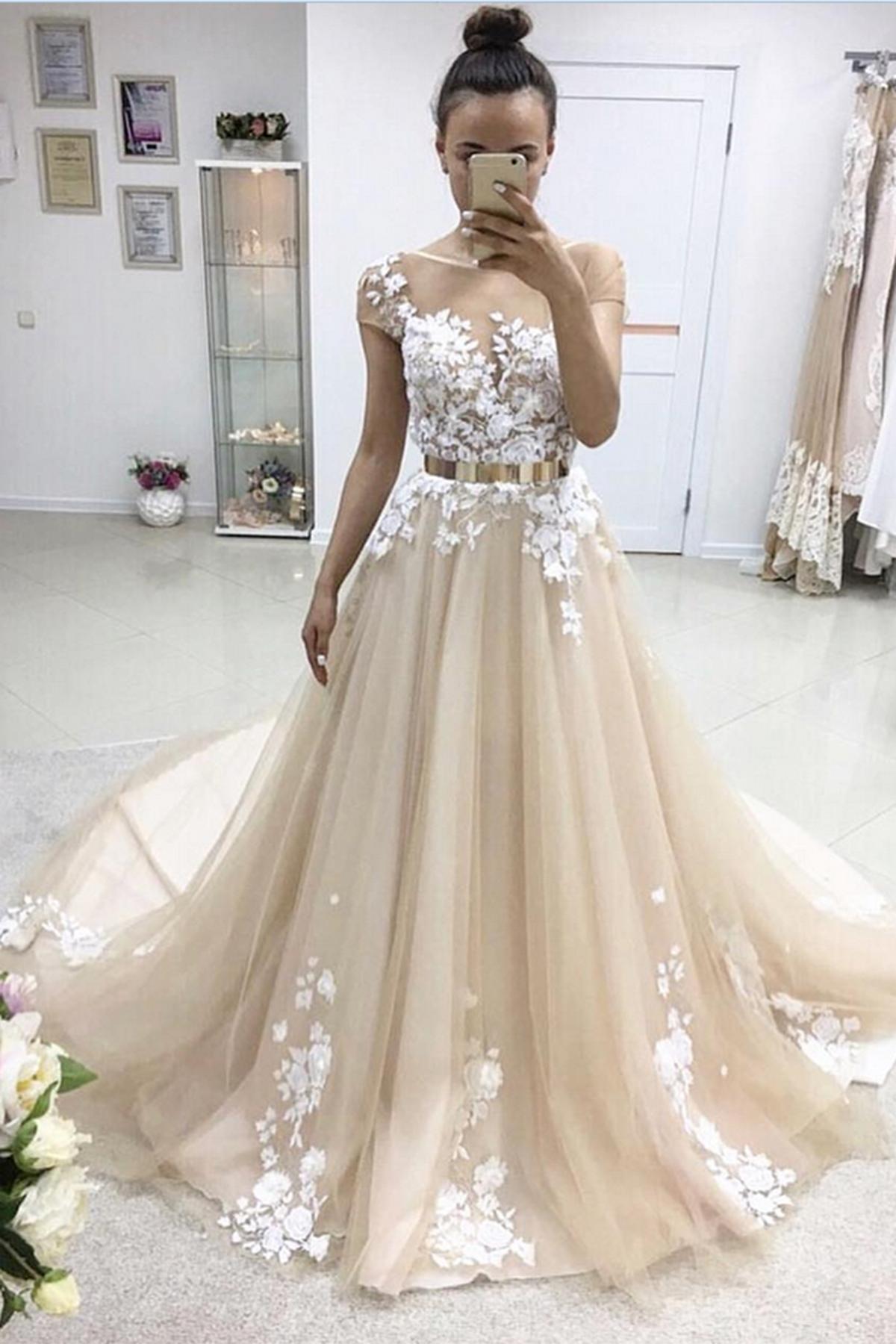 Image of 2018 spring A-line long short sleeves senior prom dresses with gold belt