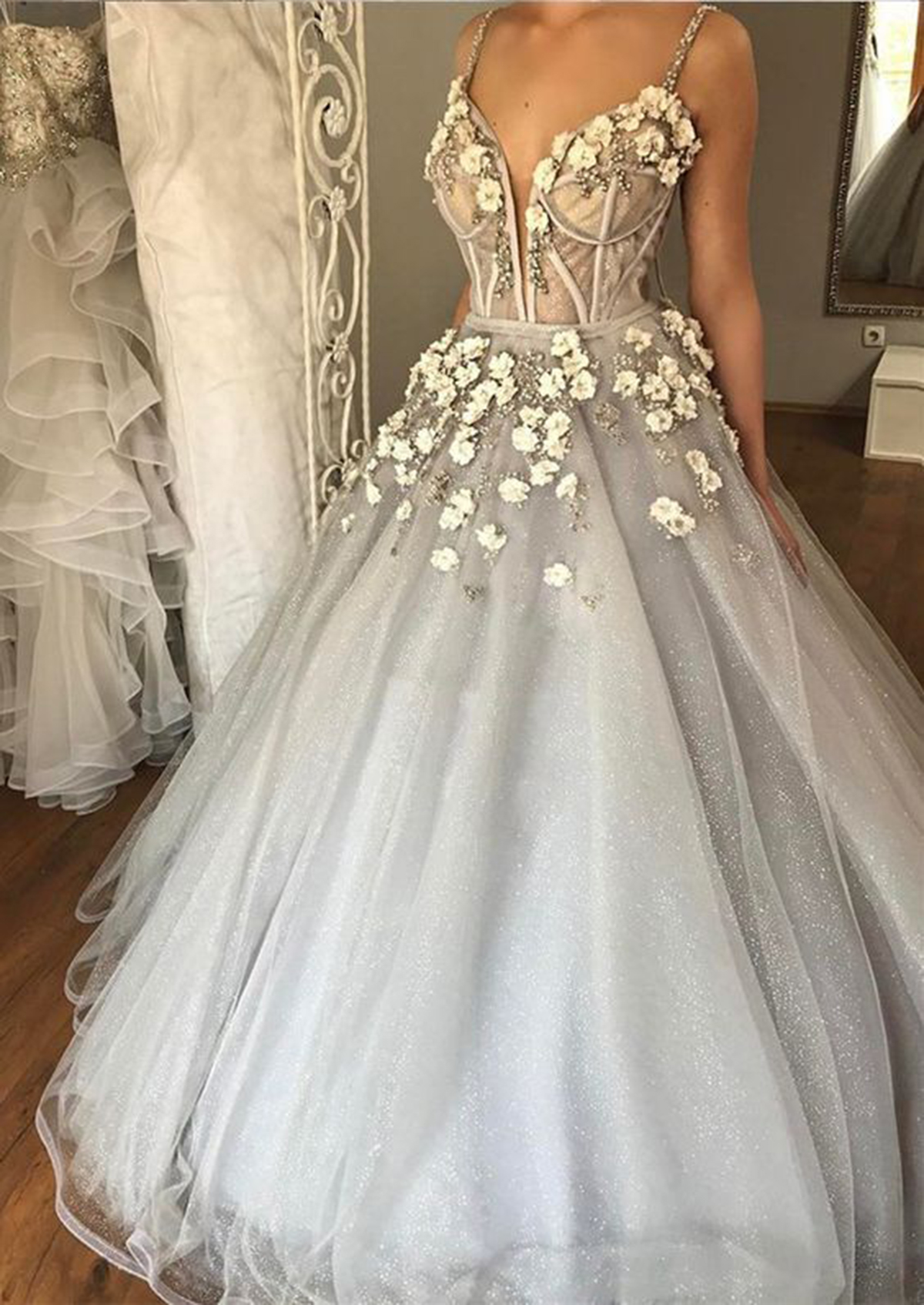 Image of 2018 Spring gray tulle spaghetti straps sexy long beaded evening dress with 3D flowers