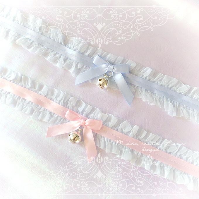 Kitten Pet Play Cat Collar Choker Necklace Pale Blue Lace Ruffles Pink Satin Bow Bell Kitty Pastel Goth Lolita Neko Bdsm Ddlg