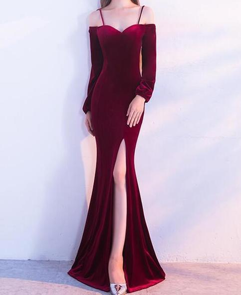 Burgundy Velvet Mermaid Spaghetti Straps Long Sleeves