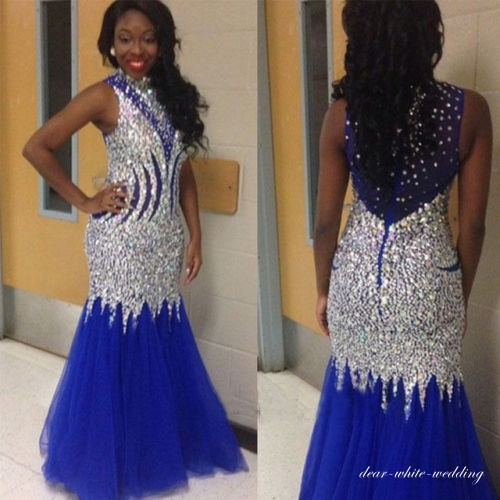 48f75850d192 Royal Blue Heavy Crystal Beaded Prom Dresses 2018 High Neck Mermaid Evening  Dress Long Party Gowns