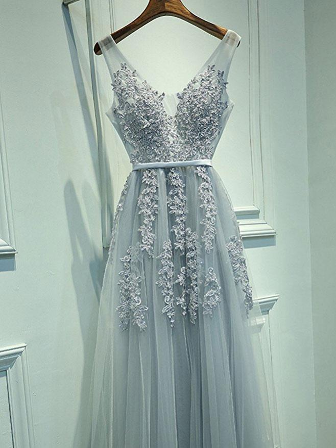 A-line Grey Tulle with Lace Appliqued V-neck Prom Dresses,Long ...