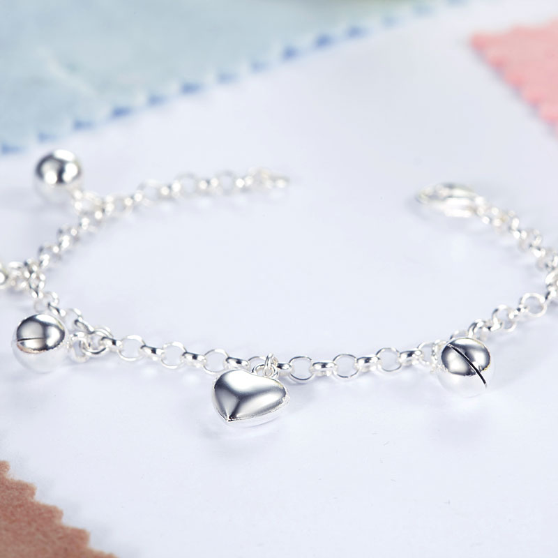 FB Jewels Solid Sterling Silver Heart Childs Bracelet