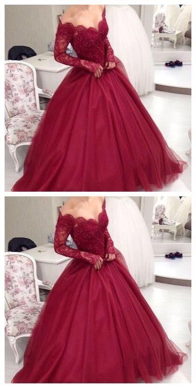 Elegant Burgundy Wedding Dress,Floor Length Prom Dress,Off the ...