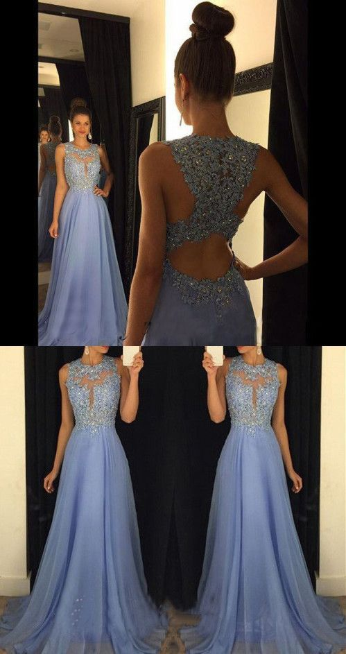 Lace Prom Dresses Long Sleeve in Perwinkle
