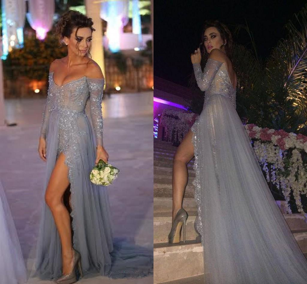 Long Sleeve Beaded Split Party prom dresses new style fashion ...