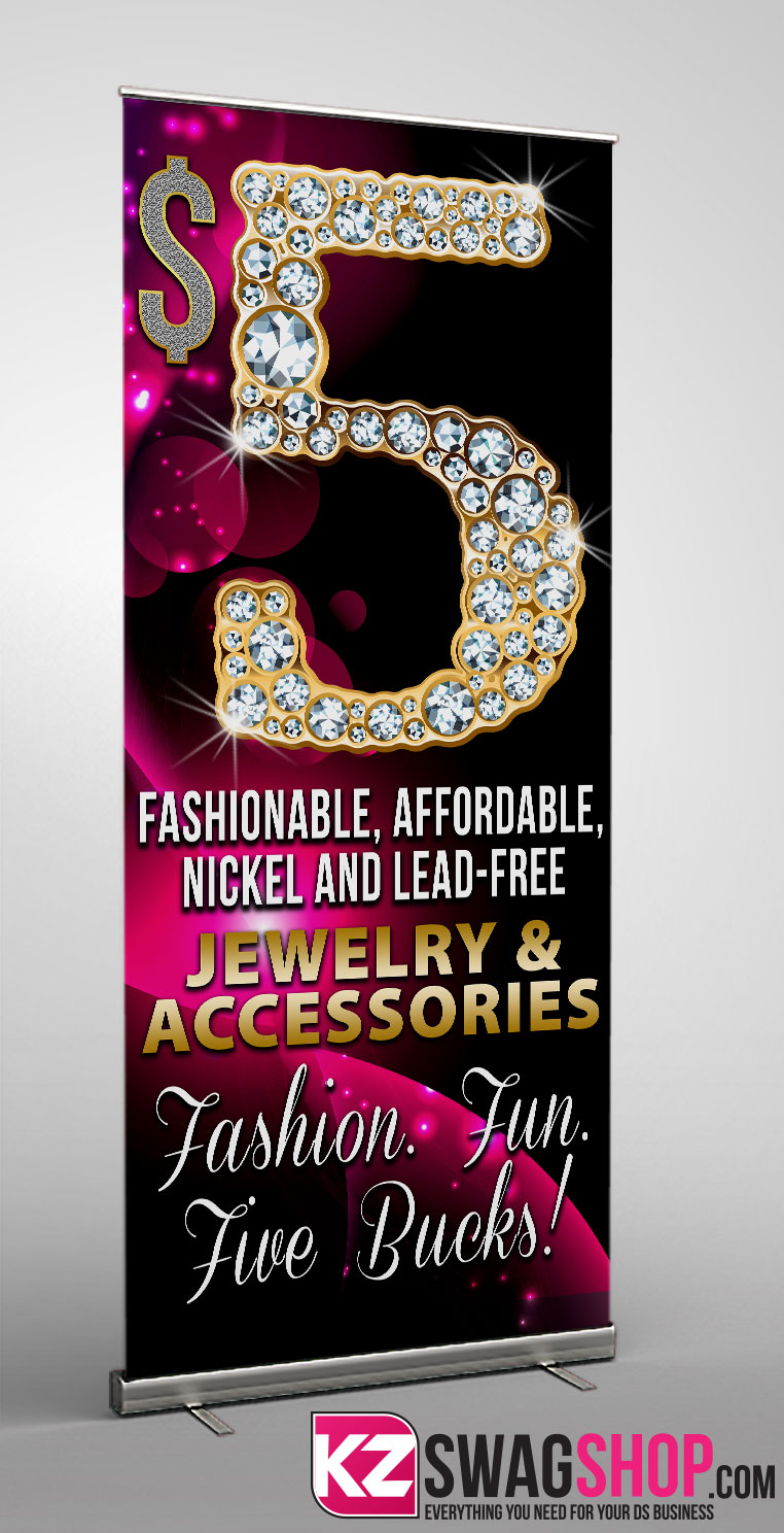 Image of $5 Bling RETRACTABLE BANNER - 1