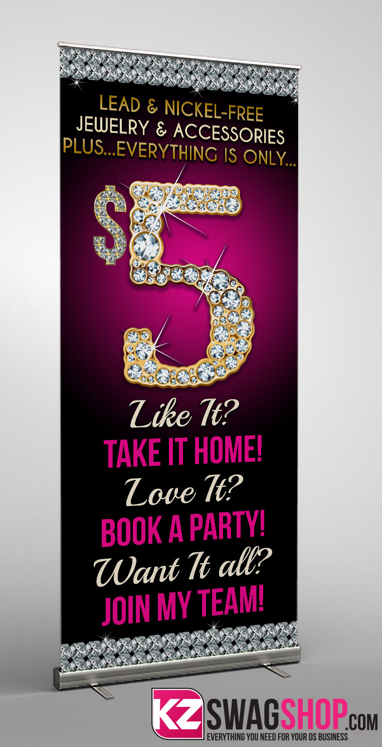 Image of $5 Bling - RETRACTABLE BANNER - 4