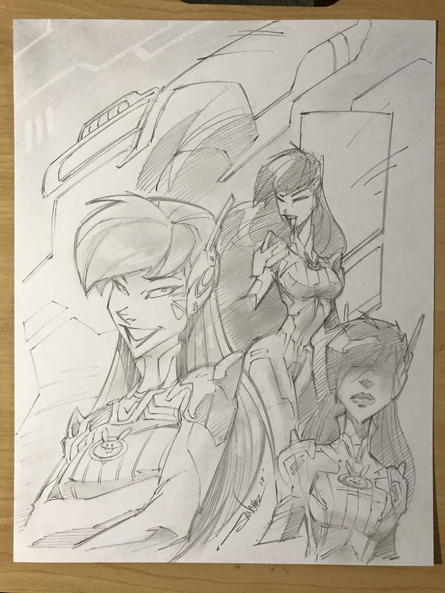 Original art overwatch d va pencil sketch
