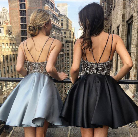 40bb8c13c76 Light Sky Blue Black Short Homecoming Dresses Prom Dresses - Thumbnail 1 ...