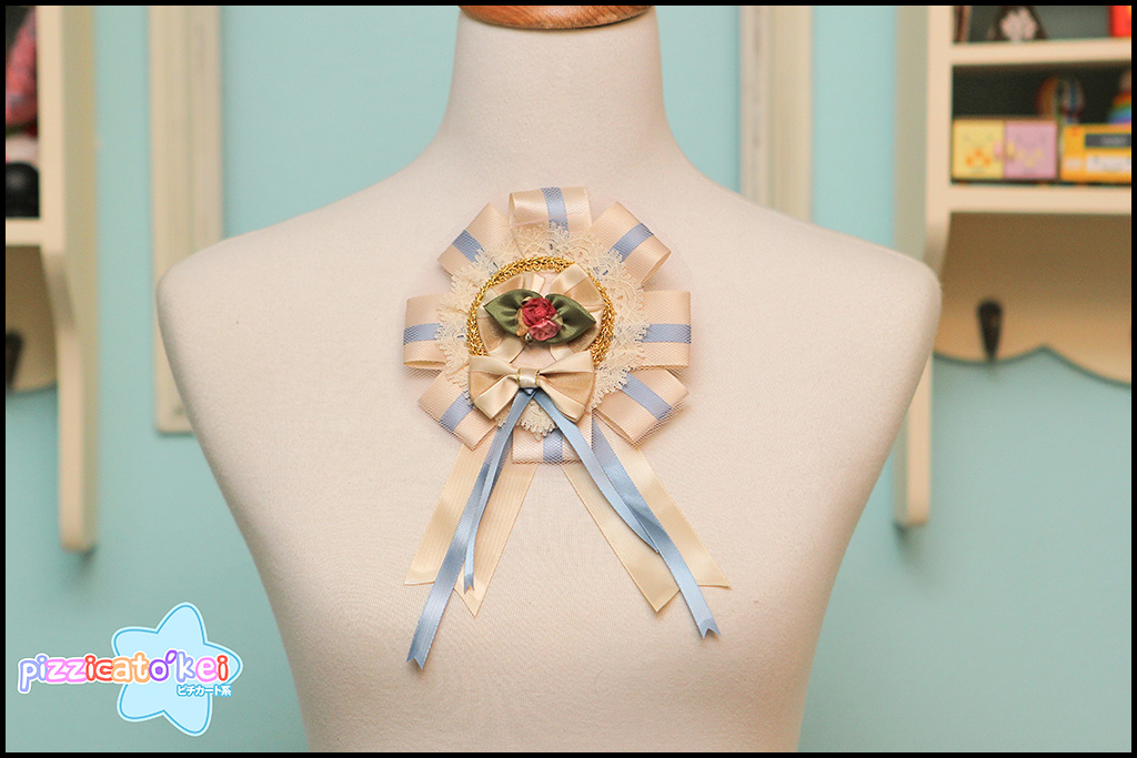 Grand Rosette (two-way) - Cream and Blue from Pizzicato Kei