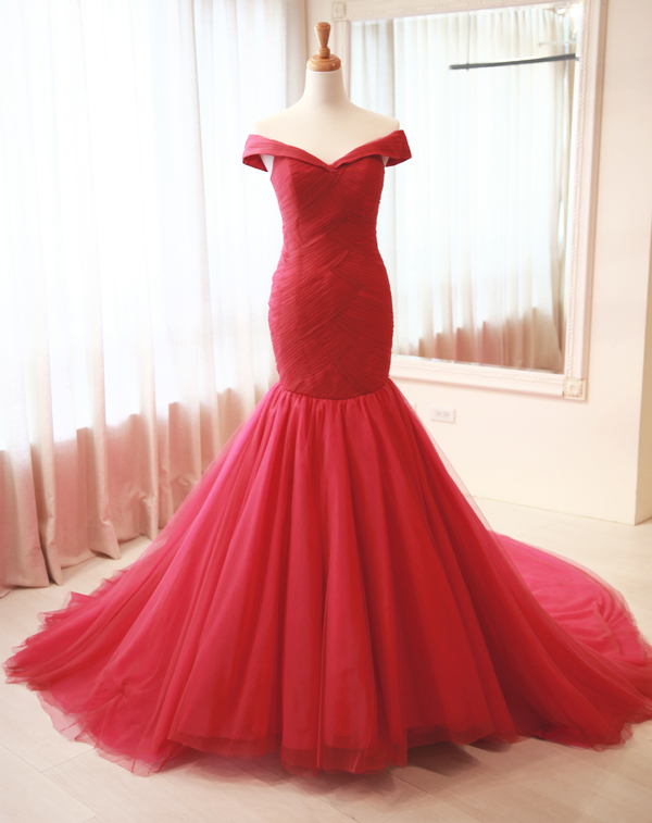 Red Wedding Dresses.Off Shoulder Sleeves Evening Dress Red Prom Dress Sexy Mermaid Red Wedding Dress From Sancta Sophia