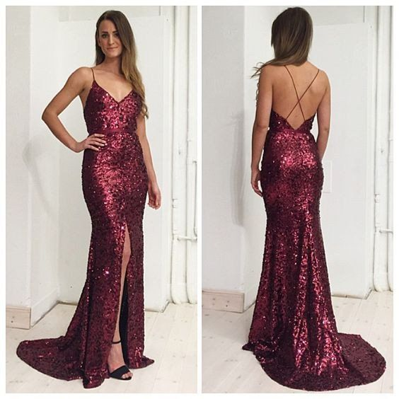 3d44f2b251a Red sequin prom dress