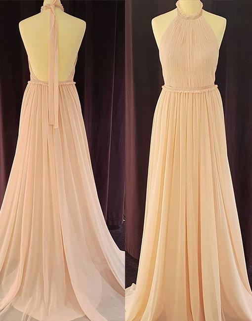 Cheap A-Line Halter Backless Light Pink Chiffon Long Prom Dress with Pleats cd3ac25b1b62