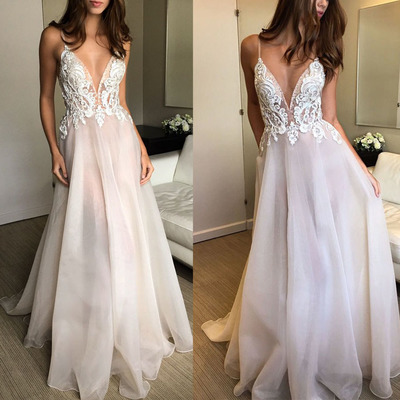 7d38a724099d 2018 fashions Prom dresses Formal Dress ivory lace Prom Dresses Sexy Summer  organza Evening Gowns