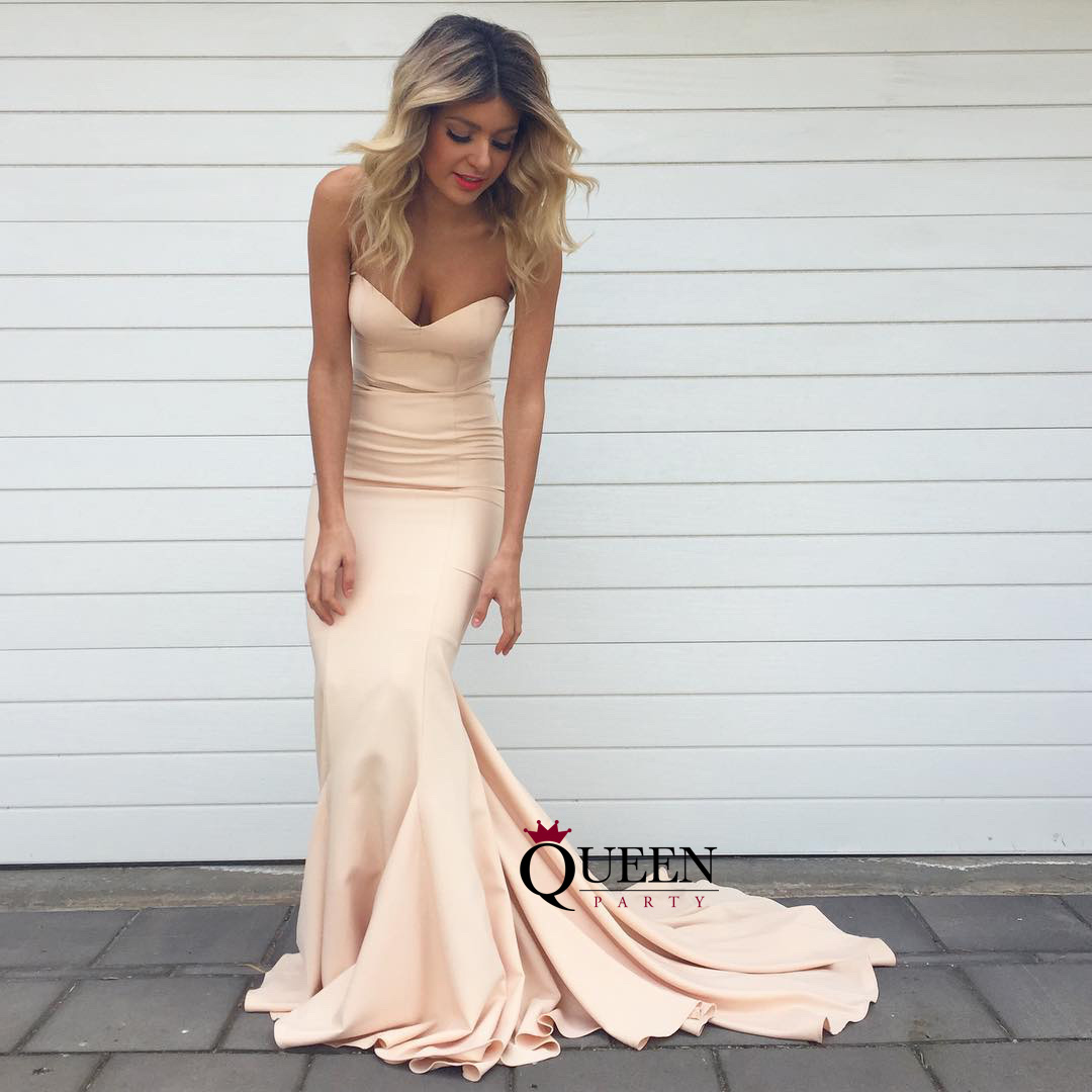 Simple Champagne Sweetheart Mermaid Long Prom Dress, Strapless ...