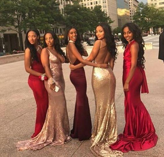 Affordable Mismatched Mermaid Long Bridesmaid Dresses