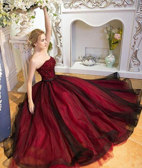 Renaissance Medieval 2017 Wedding Dresses A Line Burgundy: 2018 New Fashions Unique Burgundy Tulle Long Prom Dress