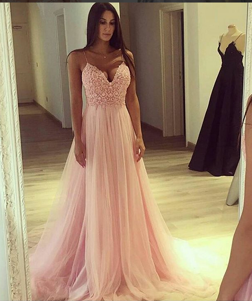 Sexy A Line Spaghetti Straps Light Pink Tulle Long Promevening Dress With Lace