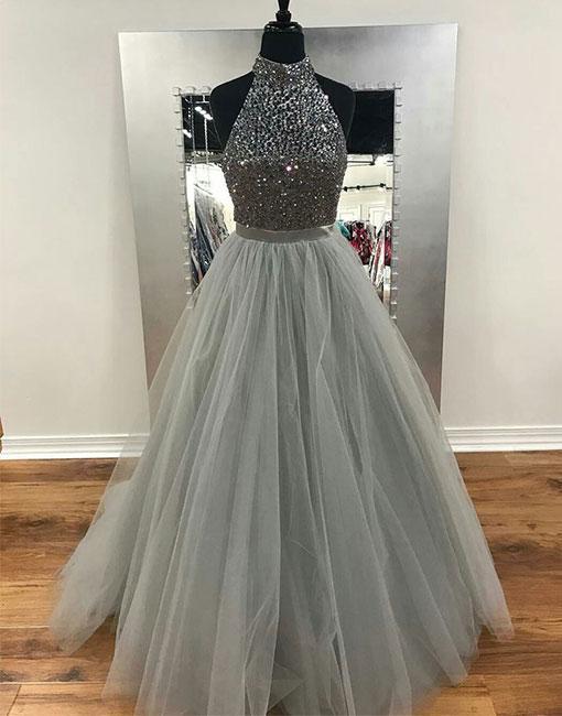 69ba562003 Gorgeous High Neck Silver Grey Beaded Prom Dress