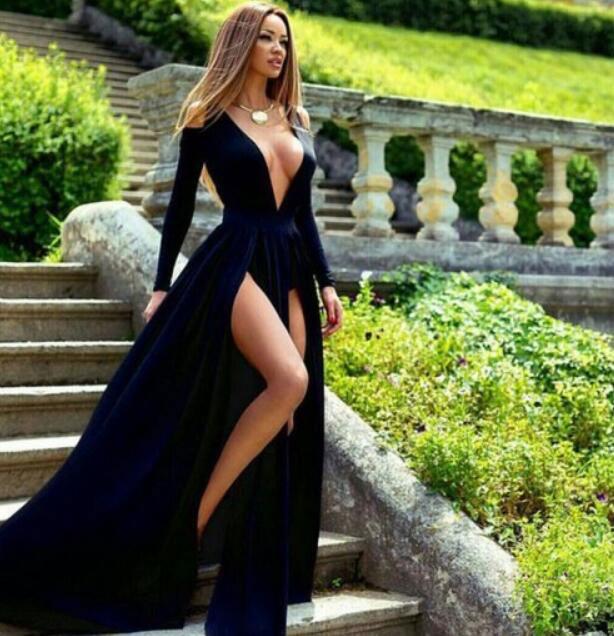 Image of Deep V Neck Long Sleeves Prom Dress with Split Side