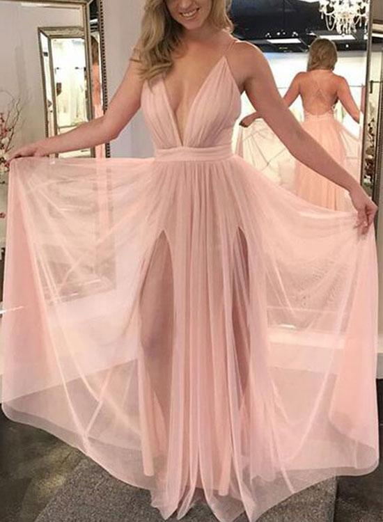 a80fe9a5dbd7 Sexy A-Line Deep V-Neck Light Pink Tulle Long Prom Dress with Split ...
