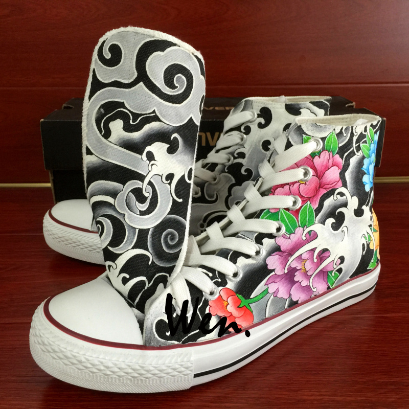 Tattoo Shoes Graffiti Hand Painted Converse All Star Original Design Flowers Totem Canvas Sneakers sold by Wenartwork