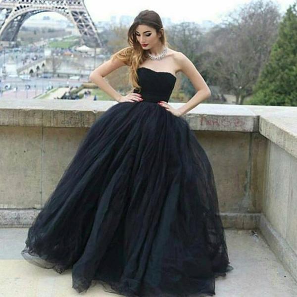 Modern Ball Gown Strapless Black Tulle Long Promevening Dress On