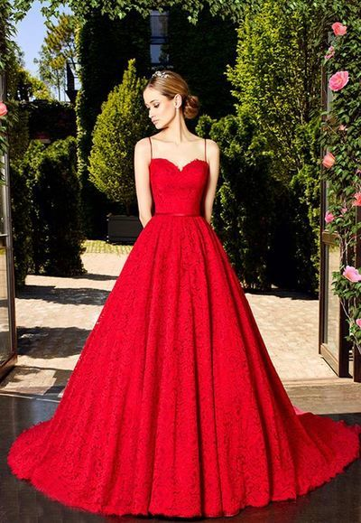 c88c8debdc0 sexy New Style A-Line Spaghetti Straps Red Lace Long Prom Dress H0206