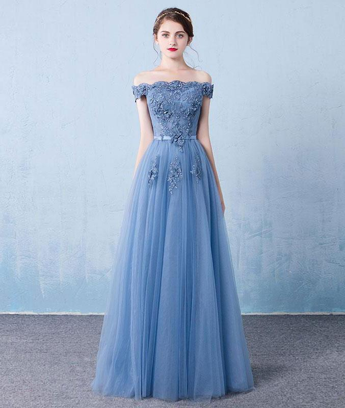 5d1c79e9b928 Elegant Off Shoulder Applique Flower Tulle Prom Dress