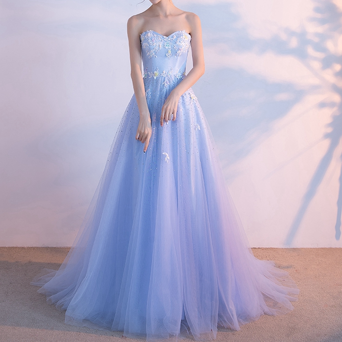 83aac061a7 High quality light blue sweetheart neck tulle lace long prom dress ...