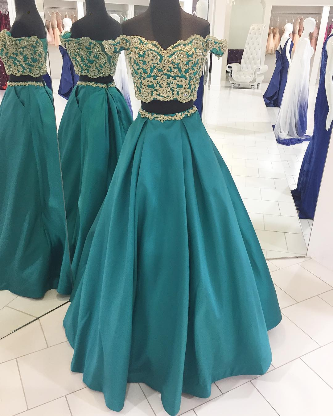 868341664bb Green Two-Piece Applique Prom Dress