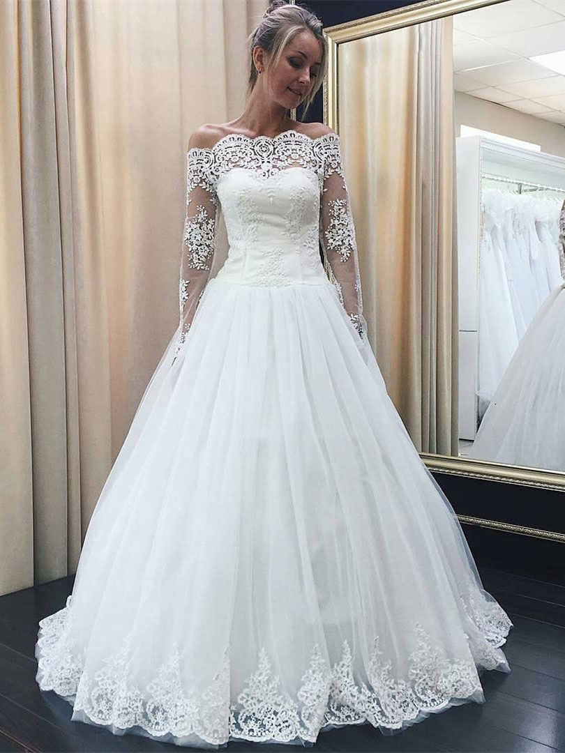 7e2e00fed99 A-line Off-Shoulder Floor-Length Tulle Lace Wedding Dresses SWD004 ...
