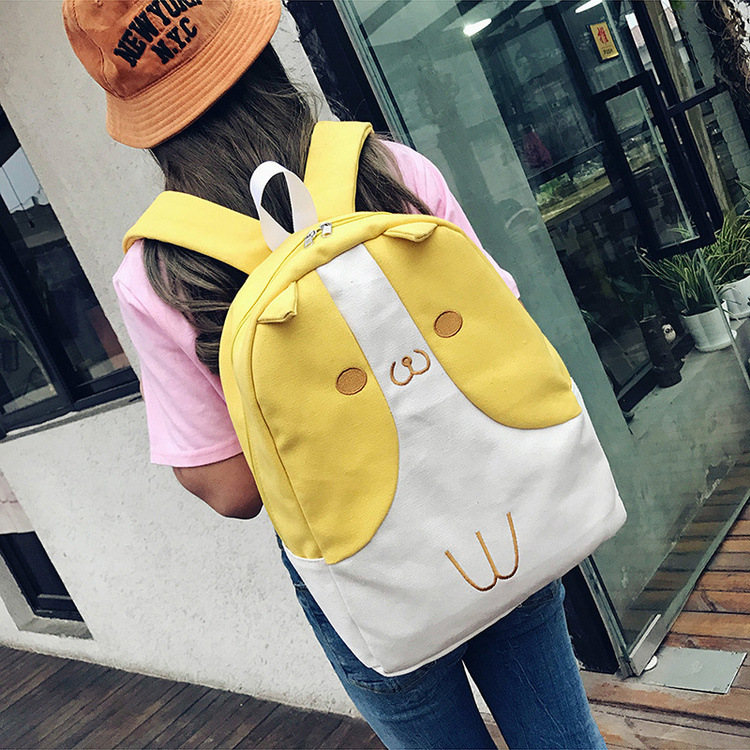 Cute Cat Ear Canvas Backpack Cartoon Coin Purse High Capacity Student Backpack Yellow Backpack (78940113 Showmall) photo
