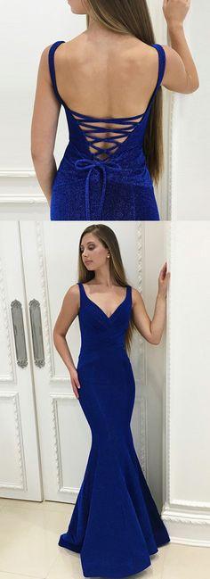 Mermaid V Neck Lace Up Floor Length Royal Blue Velvet Prom Dress