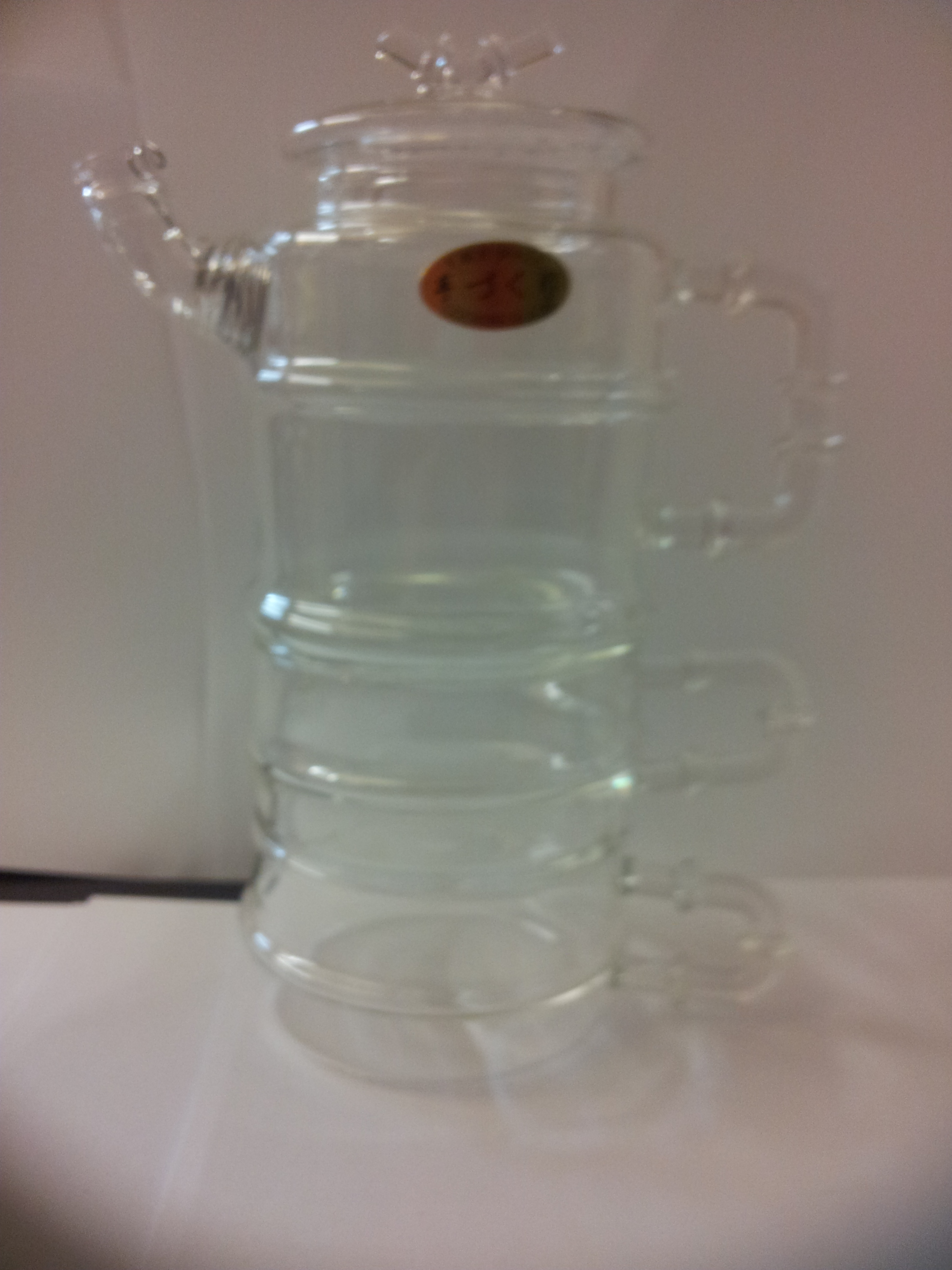 Image of 200 ml Clear Glass Heat Resistant Infuser Teapot with 2 Cup Nice for Flower/Green Tea Pot