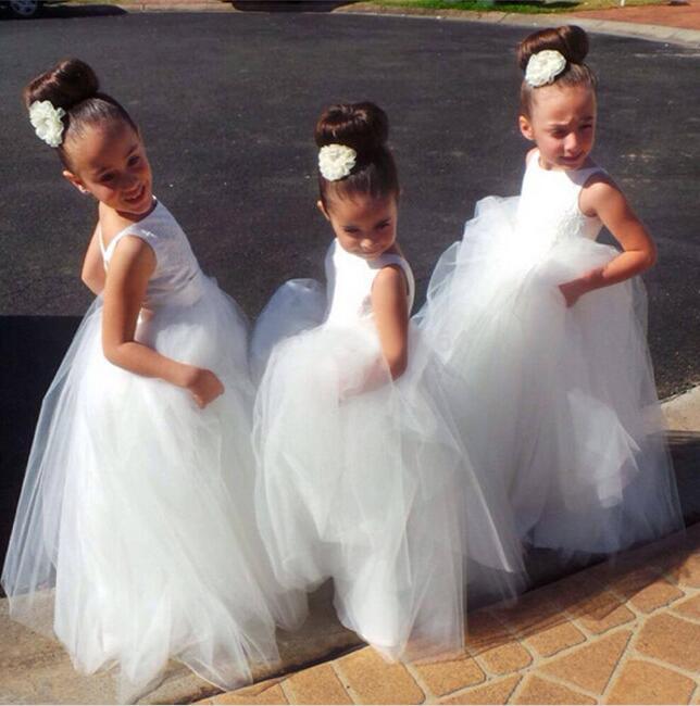 Image of Cute V Back White Tulle Flower Girl Dresses