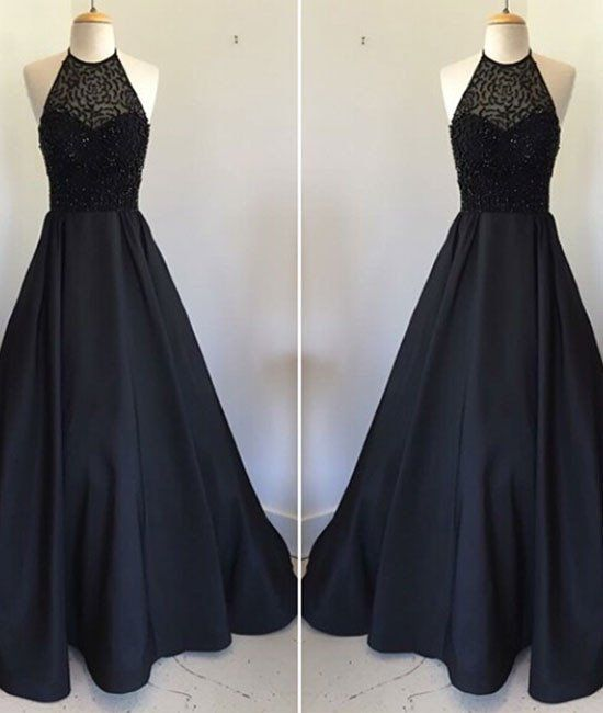 New Style Halter Long Prom Dress Black Prom Gown Ps4521