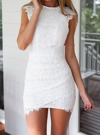 Short White Lace Dresses for Juniors with Sleeves
