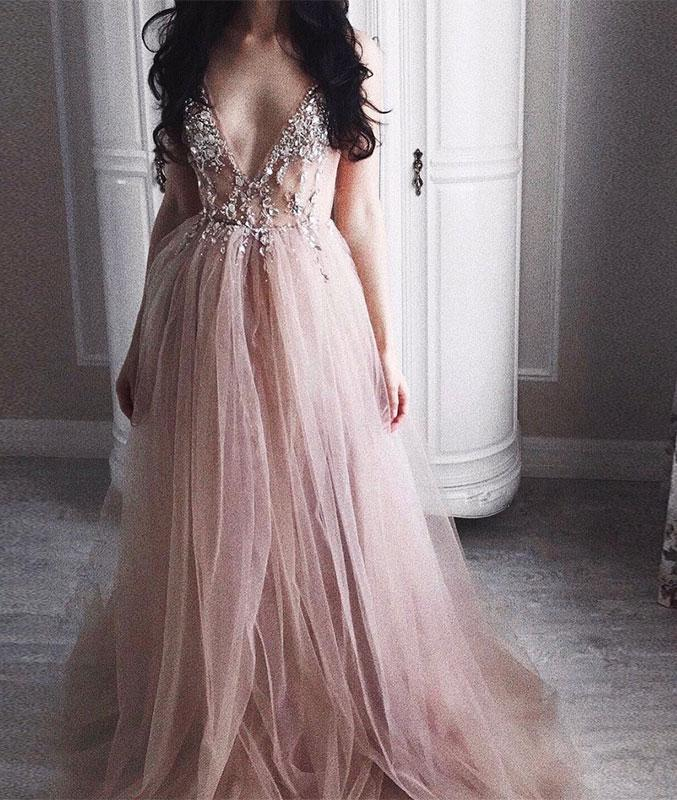 48391563a56 Sexy A-Line Deep V-Neck Champagne Tulle Long Prom Evening Dress with ...