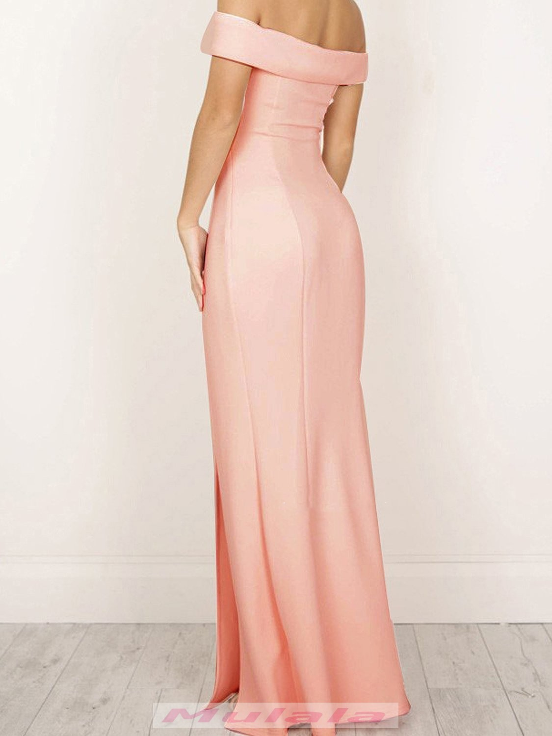 a65dcba54f5 Pink Off Shoulder Prom Dresses Side Split Mermaid Evening Dress Ankle Length  Party Gowns 2018