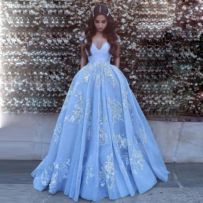 ad069aa1a2e5f FREE Shipping DHL Gorgeous Light Blue Off The Shoulder Ball Gown Prom Dress,Wedding  Dress