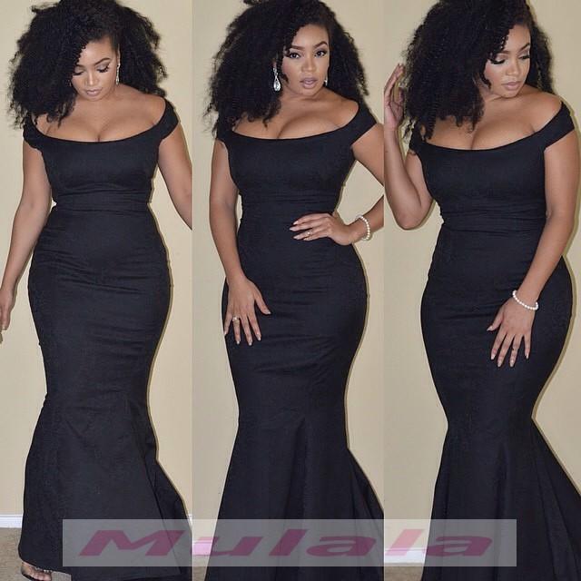 Black Girl Plus Size Prom Dresses 2018 African Off The Shoulder Long
